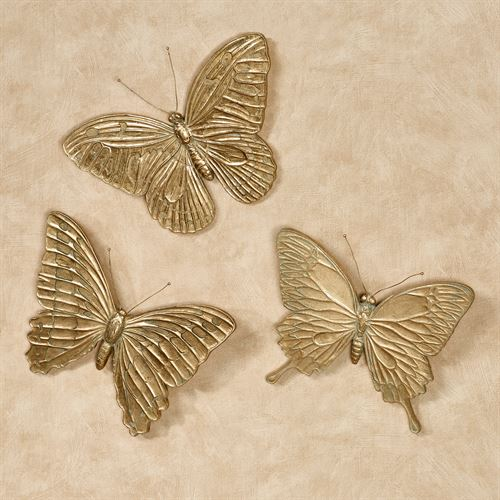 Aldora Butterfly Wall Art Gold Set of Three