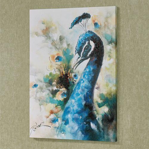 Splendid Peacock Canvas Art Multi Jewel