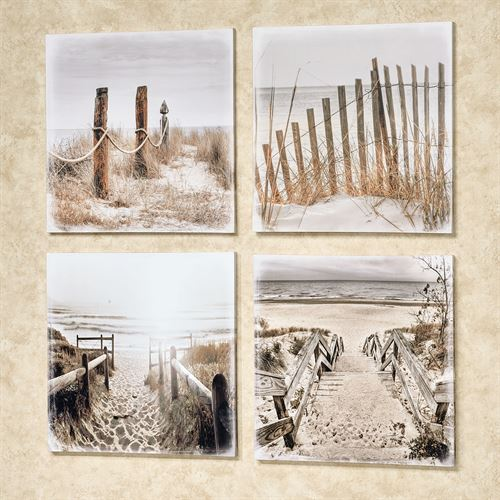Beach Entry Canvas Wall Art Multi Cool Set of Four