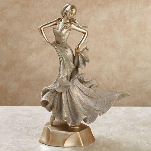 Elegant Motions Female Figurine Tarnished Gold