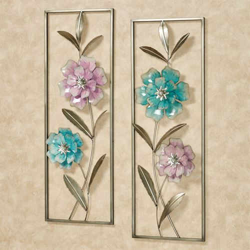 Summer Rose Flower Blossom Metal Wall Art Set