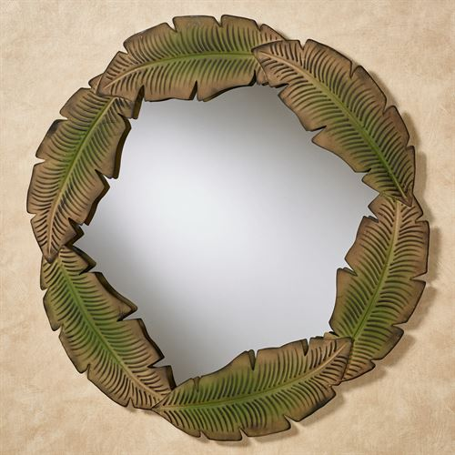 Tropics Palm Round Wall Mirror Green