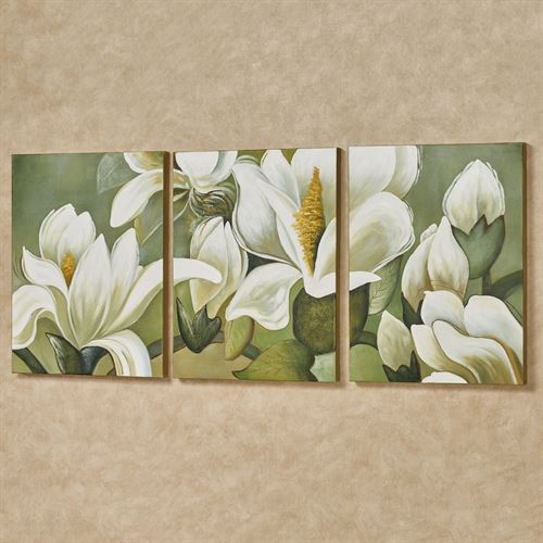 Magnolia Branch Triptych Canvas Wall Art Multi Warm Set of Three & Magnolia Branch Floral Triptych Canvas Wall Art Set