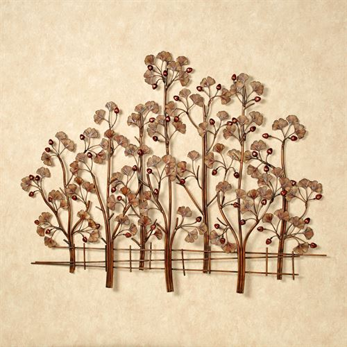 Ginkgo Metal Wall Sculpture Rustic Brown