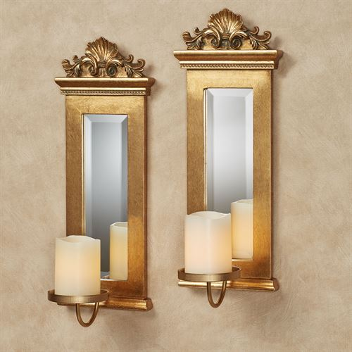 Acanthus Mirrored Wall Sconces Gold Set of Two
