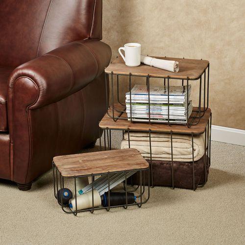 Storage Stacking Boxes Brown Set of Three