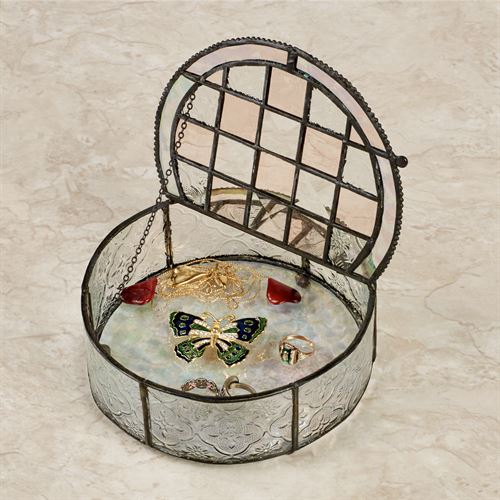 Leonore Covered Jewelry Box Clear