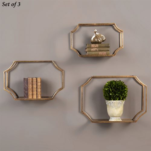 Lindee Wall Shelves Gold Set of Three