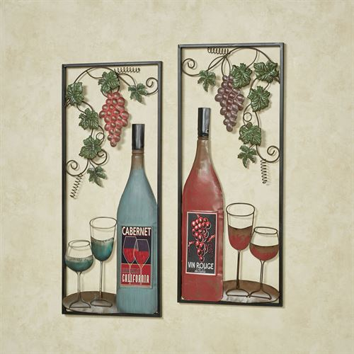 At the Vineyards Wine Wall Art Multi Jewel Set of Two