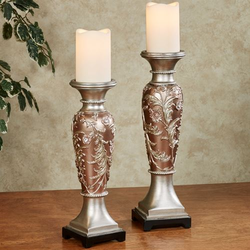 Aubrey Candleholders Multi Metallic Set of Two