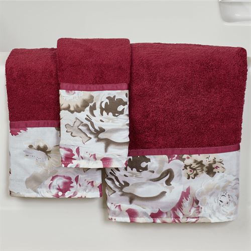Secret Garden Bath Towel Set Burgundy Bath Hand Fingertip