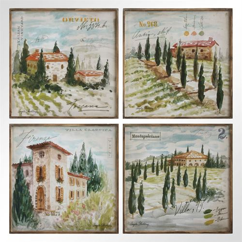Wine Country Canvas Wall Art Multi Earth Set of Four