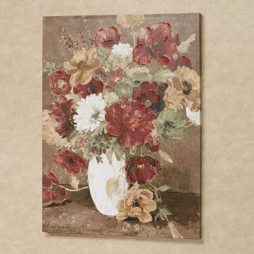 Classic Bouquet Floral Canvas Wall Art Multi Warm