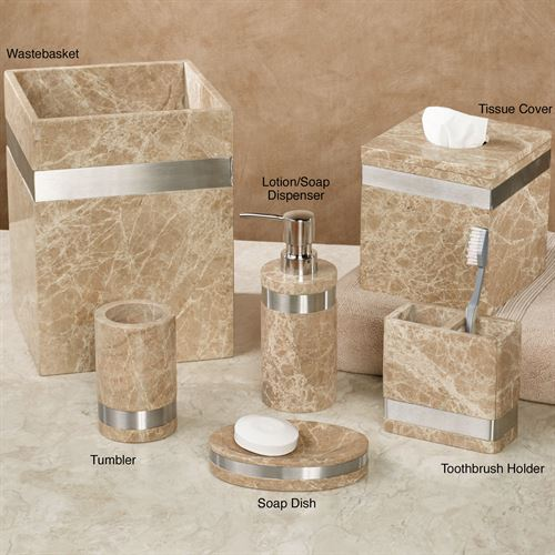Superbe Marbella Marble Bath Accessories. Marbella Lotion Soap Dispenser Tan