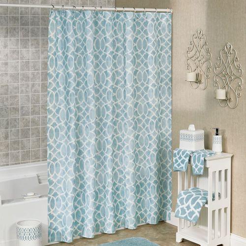 Watercolor Lattice Shower Curtain Aqua 70 x 72