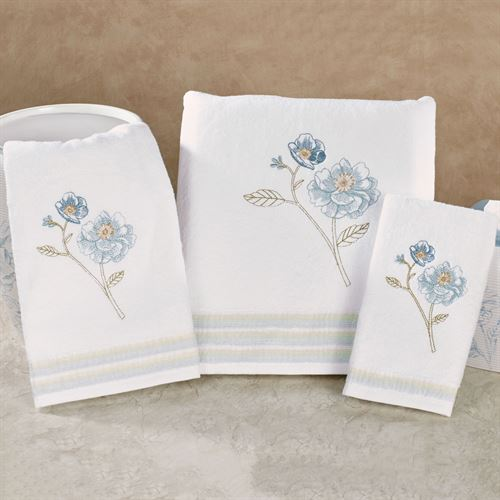 Garden Melody Bath Towel Set White Bath Hand Fingertip
