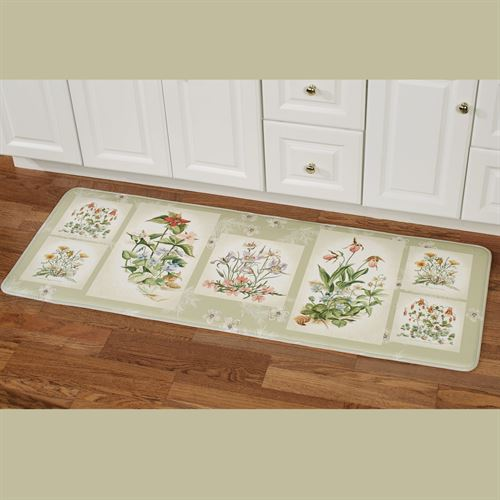 Three Bouquets Cushioned Runner Mat Pale Green 55 x 20