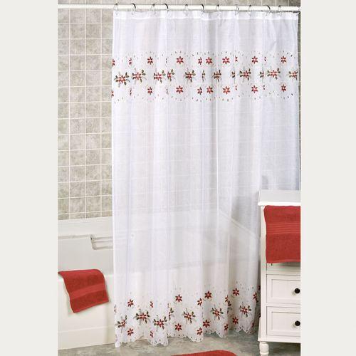 Poinsettia Cutwork Shower Curtain White 70 x 72