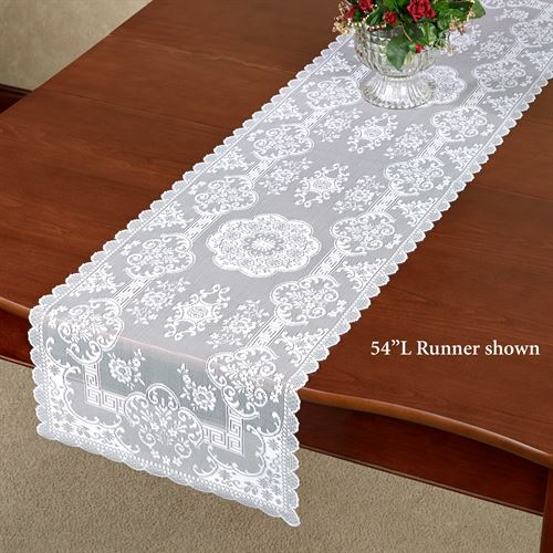 Hadleigh Lace Table Runner White