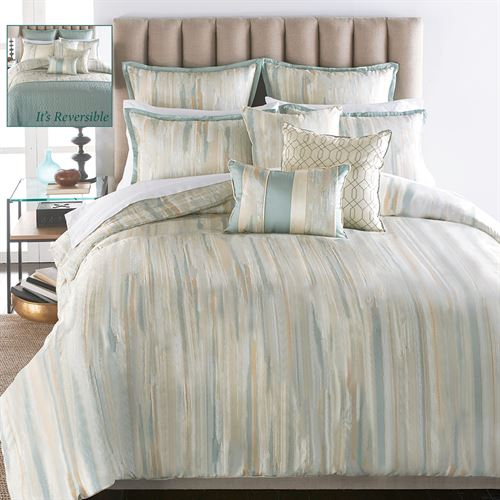 Sausalito Reversible Comforter Bed Set Aqua Mist