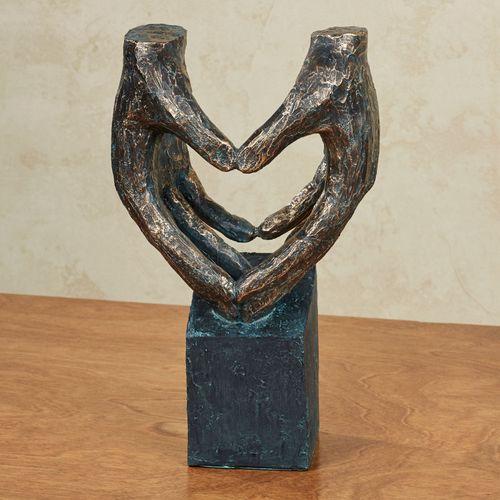 Heart in Hands Sculpture Black/Gold