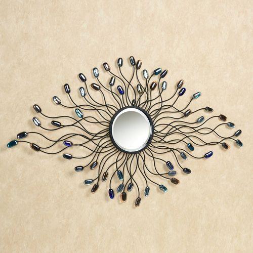 Blue Jewels Mirrored Wall Art Black