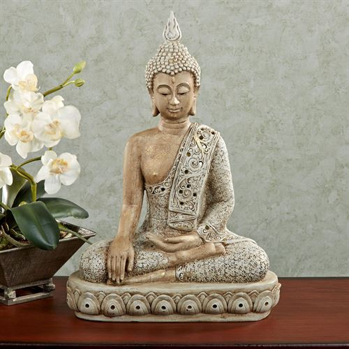 Sitting Thai Buddha Table Sculpture Off White
