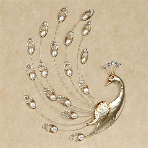 Julietta Peacock Metal Wall Art Champagne Gold