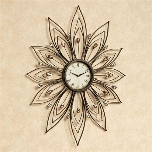 Bejeweled Metal Wall Clock Bronze
