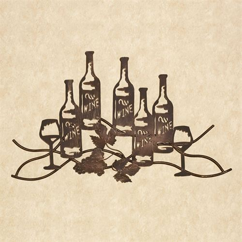 Wine and Grapes Metal Wall Art Antique Bronze