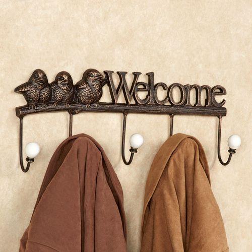 Welcome Birds Cast Iron Wall Hook Rack Antique Bronze