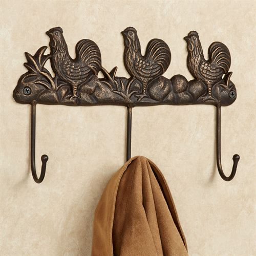 Rooster Cast Iron Wall Hook Rack Antique Bronze