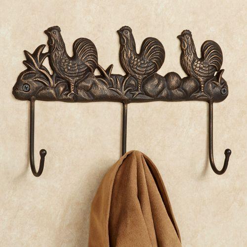 Rooster Cast Iron Wall Hook Rack Antique Bronze
