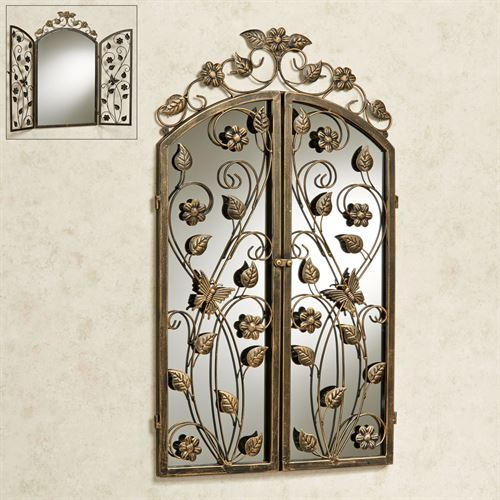 Floral Reflections Mirrored Gate Wall Sculpture Antique Gold