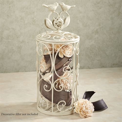 Wings of Love Decorative Jar Ivory/Gold Medium