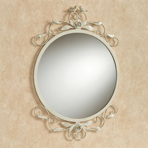 Wings of Love Round Wall Mirror Ivory/Gold