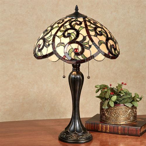 YaVonne Stained Glass Table Lamp Ivory Each with CFL Bulbs