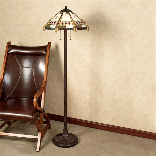 Wendelle Stained Glass Floor Lamp Ivory Each with CFL Bulbs