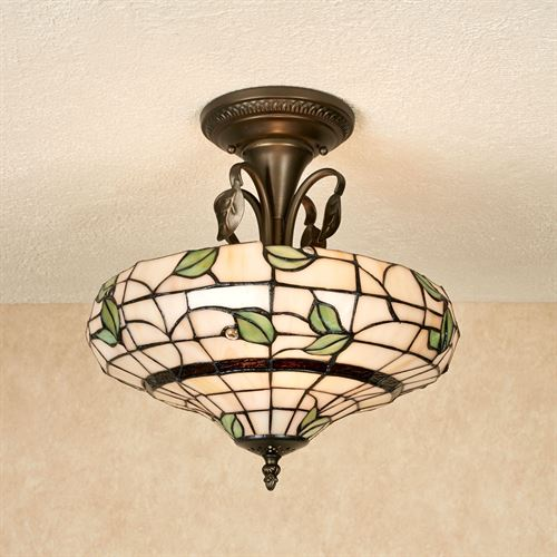 Vining foliage stained glass ceiling light vining foliage stained glass ceiling light cream aloadofball Choice Image