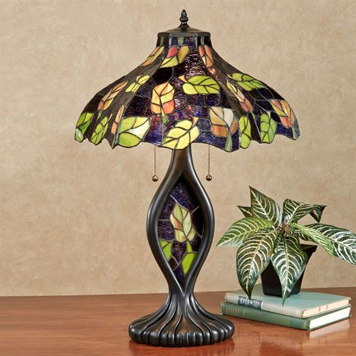 Tansi Foliage Stained Glass Table Lamp Purple Each with CFL Bulbs