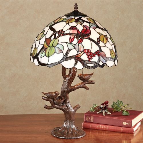 Sitting Pretty Stained Glass Table Lamp Off White Each with CFL Bulbs