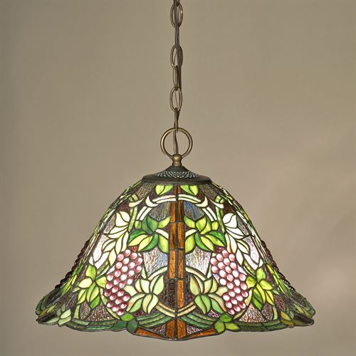Vintage Grapevine Stained Glass Ceiling Light Olive