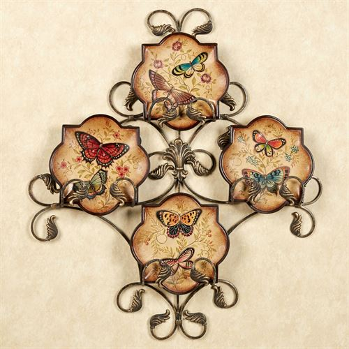 Butterfly Delight Decorative Plates Dark Beige Set of Four