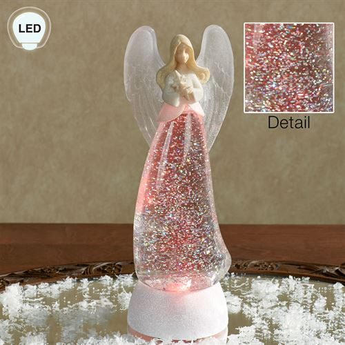 Swirl Angel LED Lighted Glitterdome Off White