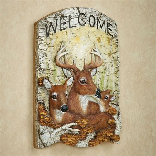 Deer Family Welcome Plaque Multi Earth