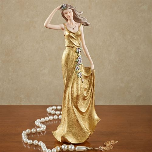Flowered Lady Figurine Metallic Gold
