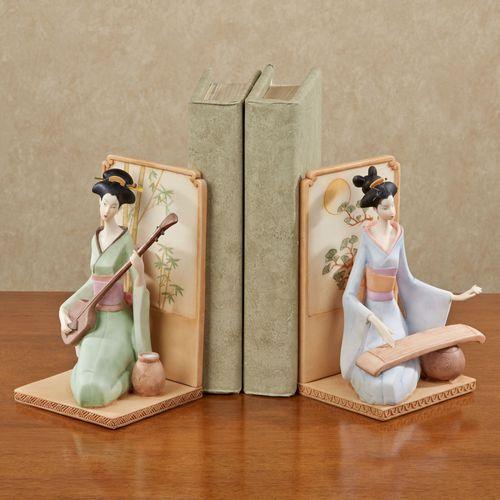 Geisha Girls Bookend Pair Multi Pastel