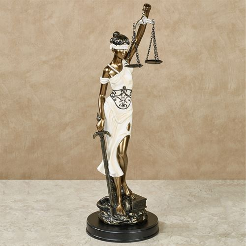 Themis Blind Justice Statue Ivory/Gold