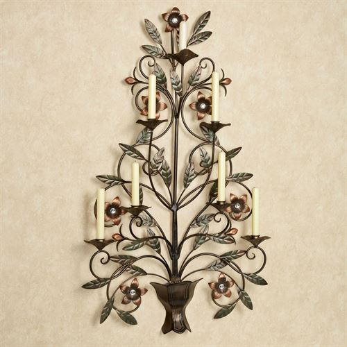 Floral Vase Candelabra Wall Art Copper