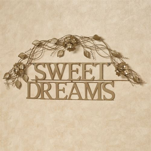 Sweet Dreams Word Wall Art Satin Gold